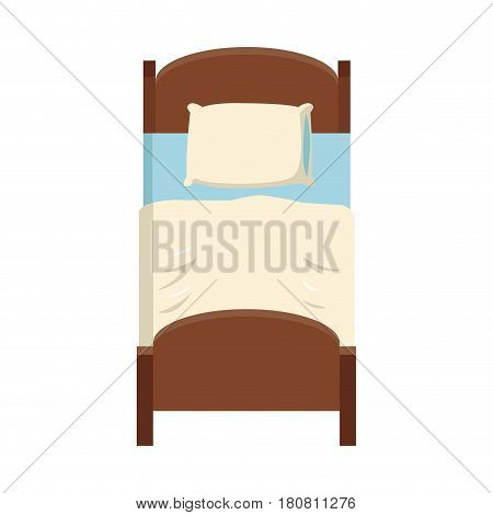 single bed icon over white background. colorful design. vector illustration