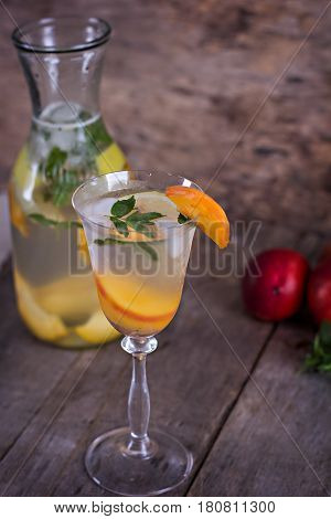 Summer Drink With Lemon And Peach