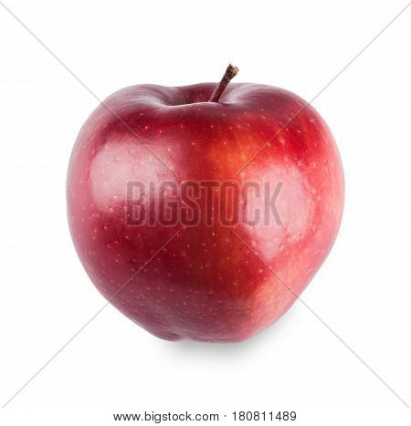 One bright purplish glossy red apple isolated on white background. Closeup image of sweet fruit, healthy natural organic food