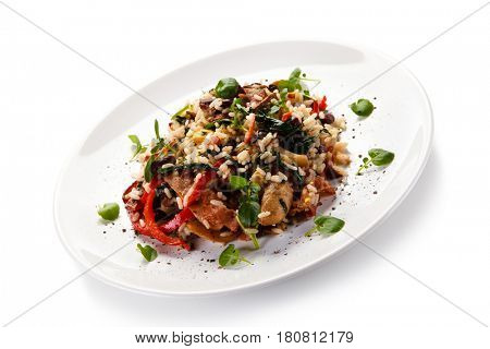 Roast meat with rice