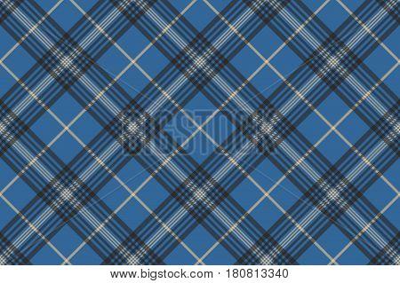 Blue check plaid tartan seamless pattern. Vector illustration.