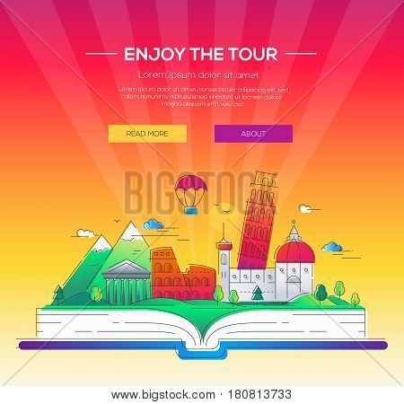 Enjoy the tour - modern vector line travel illustration. Discover Rome. Have a trip, enjoy your vacation. Be on a journey. Landmarks on a book - tower of pisa, coliseum, temple, cathedral, mountain