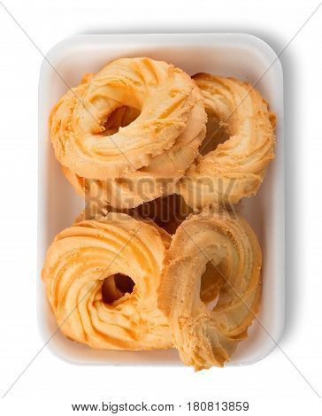 Shortcakes in a package isolated on a white background