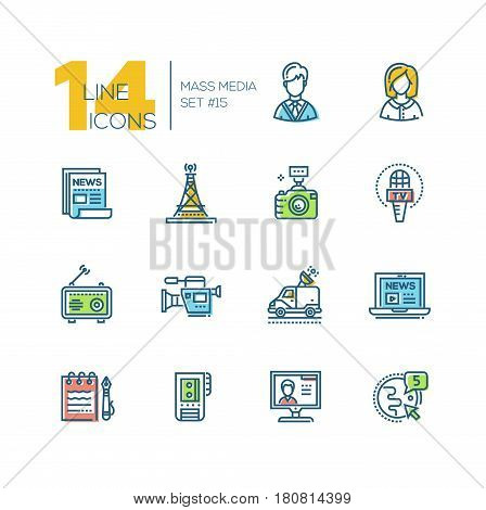Mass media - colored vector modern single line icons set. Man, woman, newspaper, camera, microphone, radio, camcorder, laptop, notepad, pen, recorder, monitor, globe, car.
