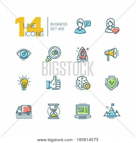 Business - colored vector modern single line icons set. Man, woman, eye, magnifying glass, hourglass, laptop, brain, ok symbol, mountain, speaker, spaceship.