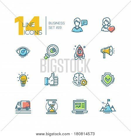 Business - colored vector modern single line icons set. Man, woman, eye, magnifying glass, hourglass, laptop, brain, ok symbol, mountain, speaker, spaceship.