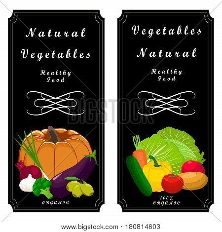 Vector illustration logo vegetables:pepper pumpkin tomato cucumber carrot beet potato broccoli mushroom peas olive cabbage onion zucchini radish eggplant cut sliced.