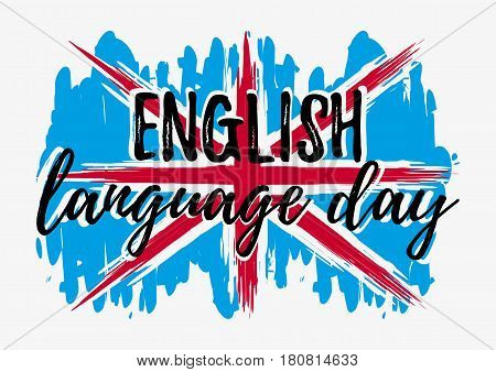 English language day card with lettering on paint splashes in shape of Britain flag in blue white red colors. Vector illustration