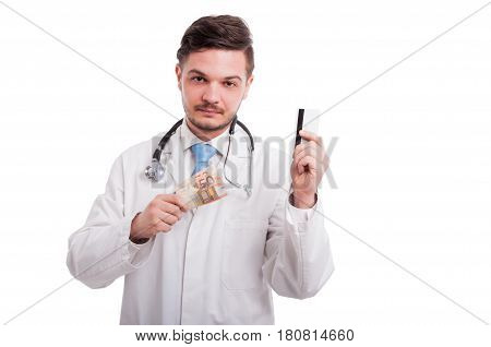 Portrait Of Medic With Money And Debit Card