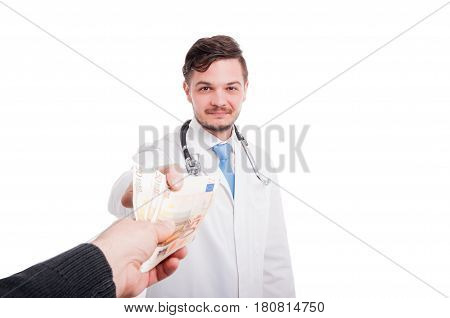 Patient Paying The Doctor Services