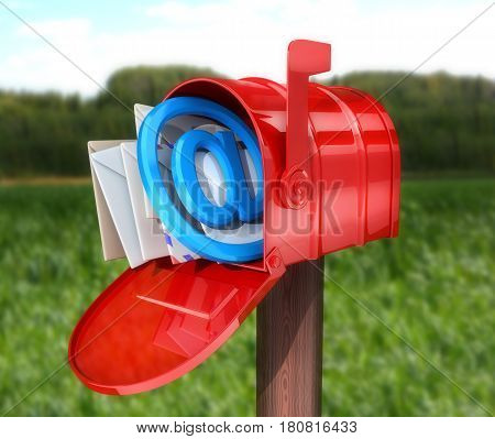Abstract E-mail open red mailbox. 3d illustration