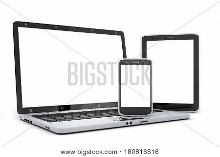Laptop pad and smartphone. White screen.3d illustration