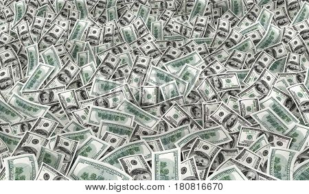 many much USA money texture. 3d illustration