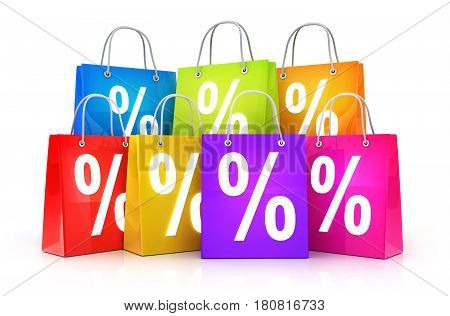 Many shopping bags and discount percent. 3d illustration