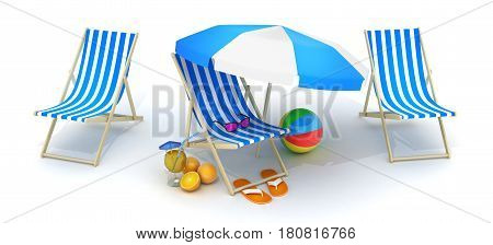 Three beach beds and Beach umbrella. 3d illustration
