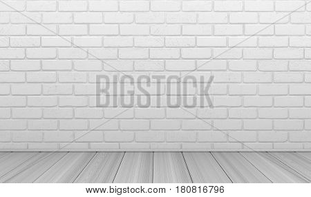 White brick wall empty background. 3d illustration