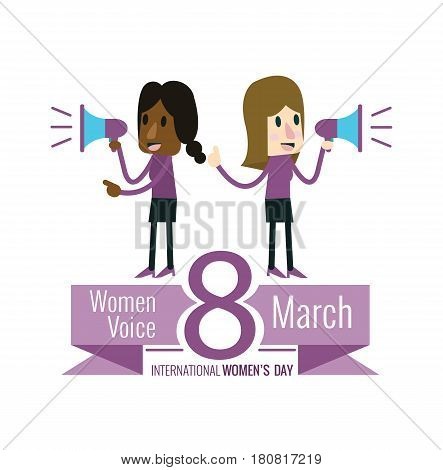 Couple women with speaker. women's voice concept. 8 march International Women's Day. flat design vector illustration