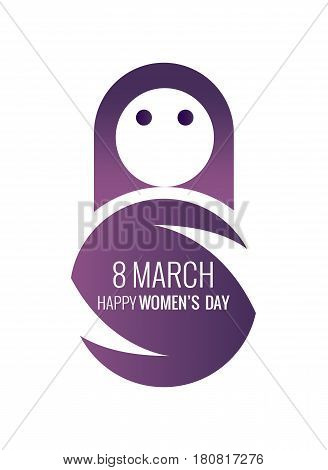 International Women's Day. 8 march symbol. flat design icon vector illustration
