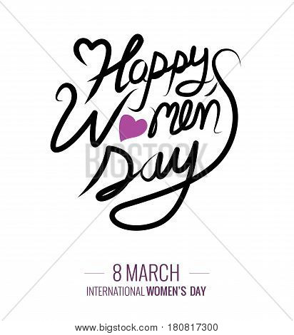 Happy Women's Day text as International Womens Day. Happy Woman's Day lettering typography poster. vector illustration