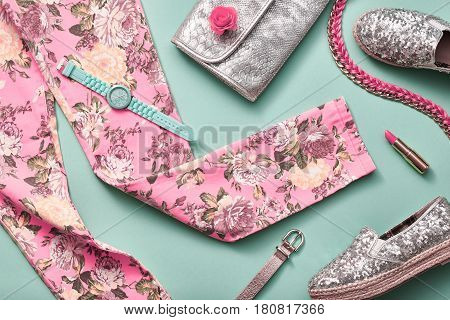 Fashion Design Woman Clothes Accessories Set. Cosmetic Makeup. Trendy Hipster Floral Leggings, fashion Stylish Handbag Clutch. Glamor Silver fashion shoes. Summer Lady. Urban Outfit.Pastel Art Minimal