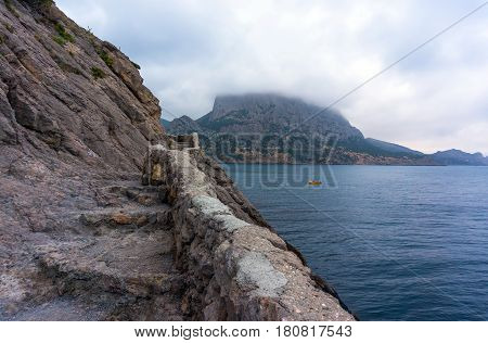 Crimean Seascape With Mountains, Coastline And Blue Sea