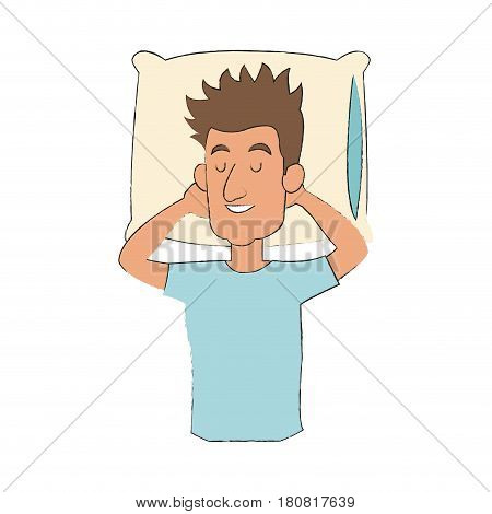 slepping man, cartoon icon over white background. colorful design. vector illustration