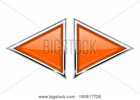 Orange triangle buttons with metal frame. Vector 3d illustration isolated on white background