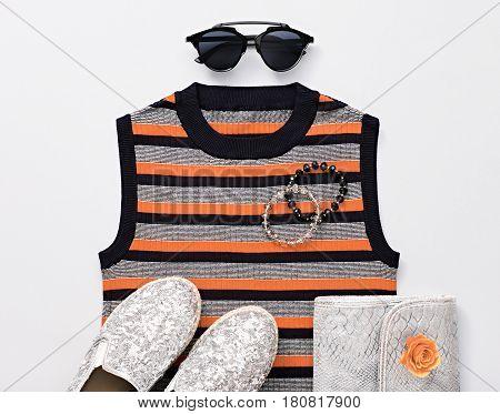 Fashion Design Woman Accessories Set. Trendy Hipster fashion Stripy Dress, Stylish Sunglasses, Handbag Clutch, hipster clothes. Glamor Silver fashion shoes. Luxury Party Lady. Art. Urban Minimal