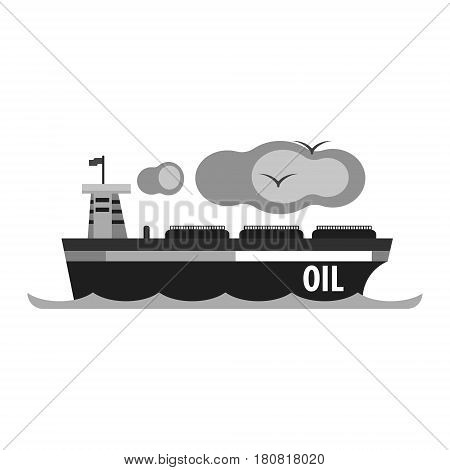 Oil tanker ship. Production and transportation of oil and oil products. Flat vector illustration isolated on a white background