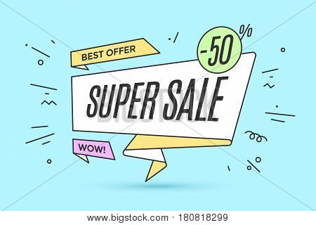 Ribbon banner with text Super Sale for discount and promotion. Colorful realistic sticker, banner for sale, shopping, market, business theme. Design elements for flyer, poster. Vector Illustration