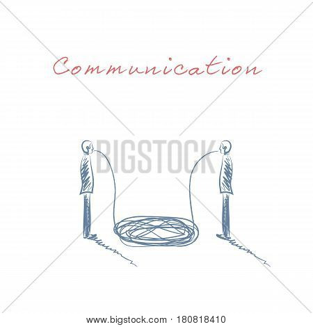 Business communication hand drawn sketch vector concept with two business man talking, having discussion. Business negotiation symbol. Eps10 vector illustration.