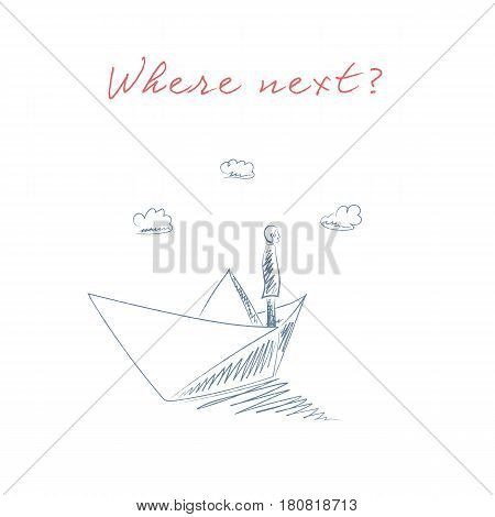 Business man on a paper boat hand drawn sketch vector. Business leadership and goal, objective oriented concept. Risk management symbol. Eps10 vector illustration.