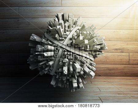 Megalopolis Aerial View 3D Render Image On Wood