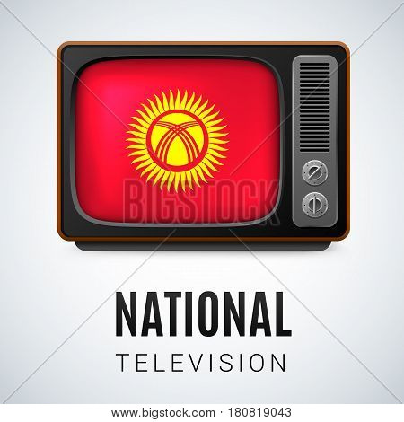 Vintage TV and Flag of Kyrgyzstan as Symbol National Television. Button with Kyrgyz flag