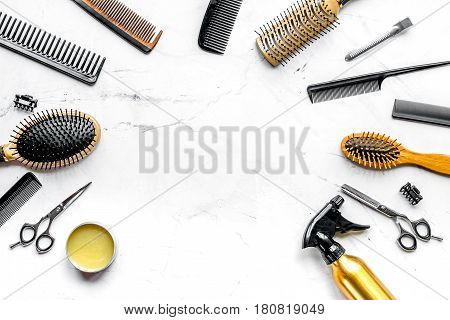 hairdresser working desk with styling tools on white background top view mock up