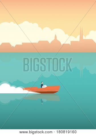 Summer vacation or holiday poster with elegant man in fast speedboat with Venice or other historical monument cityscape. Eps10 vector illustration.