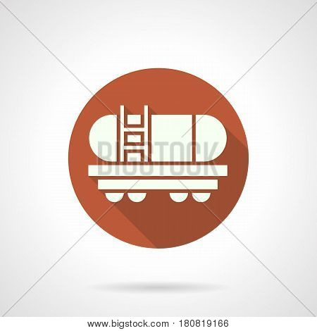 Abstract white silhouette of tank wagon. Cistern rail car for transportation of hazardous liquids, gasoline, fuel. Round flat design orange vector icon, long shadow.