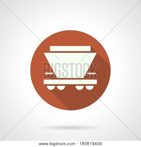 Abstract white silhouette of hopper rail car. Wagon for transportation of bulk freights. Round flat design orange vector icon, long shadow.