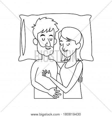 happy couple slepping, cartoon icon over white background. vector illustration