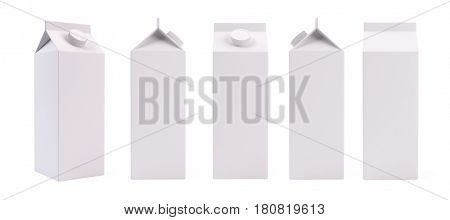 White blank milk or juice pack box template - 3d rendering