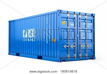 Blue cargo freight shipping container isolated on white background - 3d render