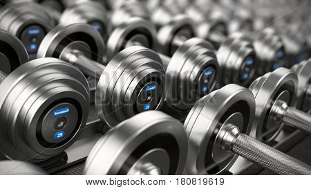 Dumbbell weights. 3d render