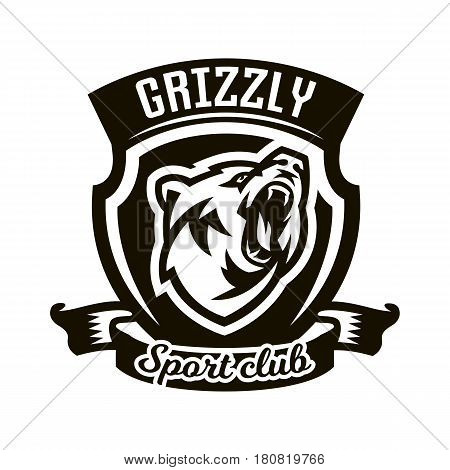 Monochrome logo, emblem, growling bear. Forest predator, sports club. Isolated vector illustration, printing on T-shirts