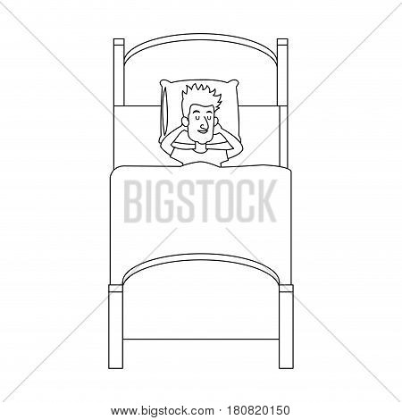 man slepping at the bed, cartoon icon over white background. vector illustration