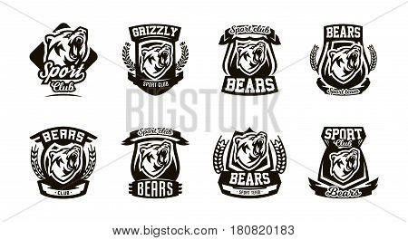 A set of monochrome logos, emblems, a growling bear. Forest predator, sports club. Isolated vector illustration