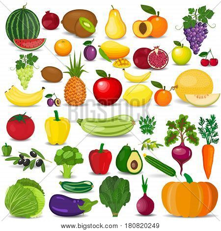 Set of vegetarian food . Vector vegetarian organic healthy food cuisine. organic natural realistic vegetable and fruits. Veggie Lover Elements