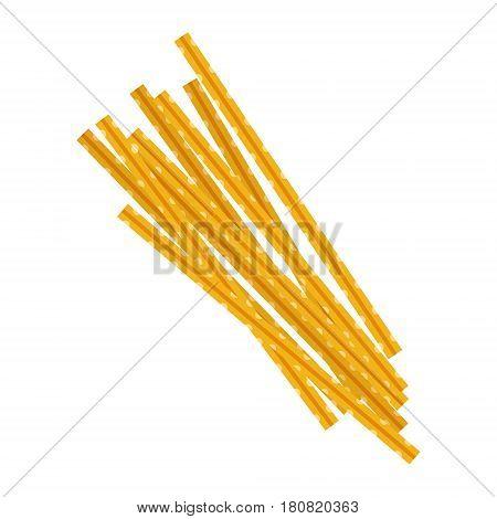 Maccheroni pasta. Raw pasta, macaroni, cartoon illustration isolated on a white background