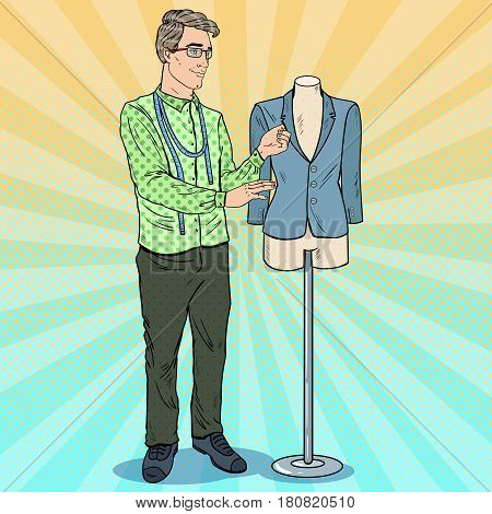 Male Fashion Designer at Work with Mannequin. Textile Industry. Pop Art retro vector illustration