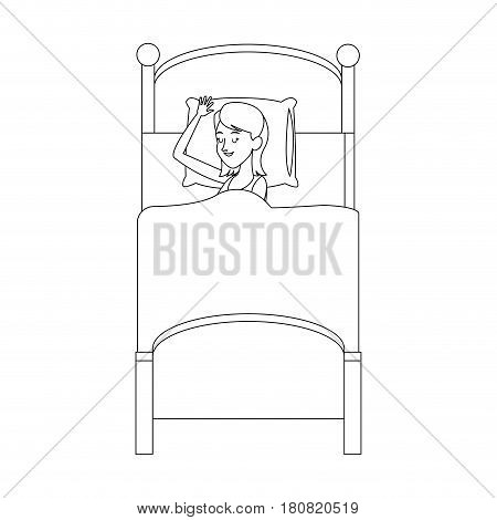 woman slepping at the bed, cartoon icon over white background. vector illustration
