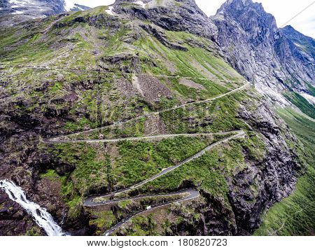 Troll's Path Trollstigen or Trollstigveien winding mountain road in Norway aerial photography.